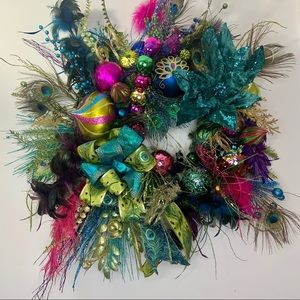 Peacock Contemporary Christmas Wreath With Lights